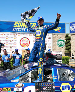 Chase Elliott winning NASCAR K&N Pro Series West race at Sonoma Raceway