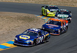 Chase Elliott leading the pack NASCAR K&N Pro Series West at Sonoma Raceway in California