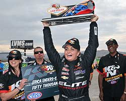 Enders-Stevens amassed 6 NHRA Pro Stock race wins during 2014, and won the 2014 K&N NHRA Horsepower Challenge at Las Vegas Motor Speedway
