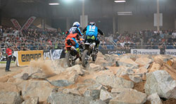 Colton Haaker passes Taylor Robert during Endurocross round 4 in Scottsdale, Arizona