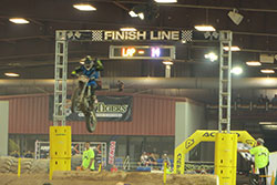 Colton Haaker crossing the finish line at Endurocross round 4 in Scottsdale, Arizona