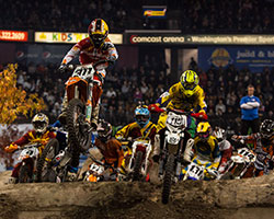 To get around the course quickly AMA EnduroCross fueled by Monster Energy racers turn logs into a series of jumps