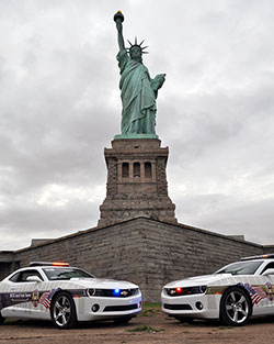 Fueled By The Fallen 9/11 Angels Cruisers Chevrolet Camaro RS cars were ferried to Ellis Island