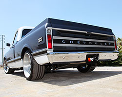 The aluminum trim on this 1969 Chevrolet C10 Pickup was brushed and clear coated to match the HRE wheels