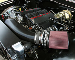 A Chevrolet 5.7-liter LS1 engine breathing through a K&N air filter and custom intake tube powers the 1969 Chevy C10 truck by Creations N' Chrome