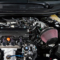 A custom K&N air intake system and high-flow performance air filter helps the Fox Marketing 2016 Honda HR-V SEMA show car breathe