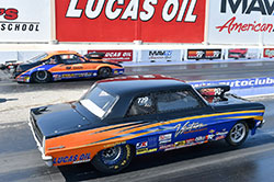 NHRA's Super Street class runs on a fixed 10.90 index – on a pro tree – with V-8 cars weighing no less than 2,800 pounds. Greg Ventura's Chevy runs an all-aluminum BRODIX big-block to minimize weight and enhance front-to-rear balance.