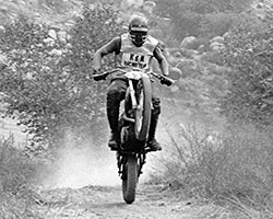In 1969 Gary Whitehead purchased a Yamaha 250cc DT-1 motorcycle from K&N and is seen here racing in Riverside, California