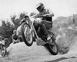 Gary Whitehead aboard his 1970 Husqvarna (Husky), that he purchased from the K&N motorcycle dealer