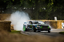 "Vaughn kicks his RTR Mustang sideways on what he described as ""Lord March's driveway""."