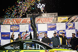 Noah Gragson celebrates after winning the NASCAR K&N Pro Series East race at Stafford Speedway in Connecticut.