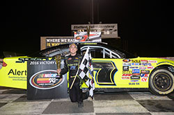 Noah Gragson led two laps and won the NASCAR K&N Pro Series East race on a green-white-checkered flag finish at Stafford Speedway in Connecticut.