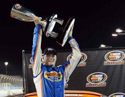 2013 NASCAR K&N Pro Series West Champion - Derek Thorn Showing off the Torphy at Phoenix International Raceway