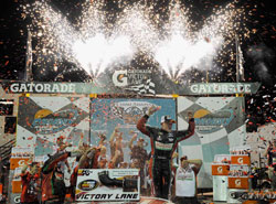 Gray Gaulding in Phoenix International Raceway's victory lane celebrating his first win