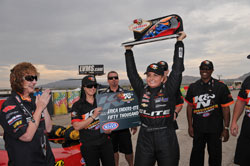 In 2014 professional NHRA Pro-Stock driver Erica Enders-Stevens beat Dave Connolly becoming the first female winner of a K&N NHRA Horsepower Challenge and took home the $50,000 prize