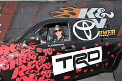 Anne Perkins, the K&N Horsepower Sweepstakes finalist from Brookings, Oregon, was paired with Enders-Stevens and, thanks to her win, took home a one-of-a-kind 2014 K&N HPC Custom Toyota Tacoma