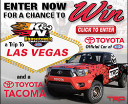 K&N air filters has partnered with Toyota once again to give away a Toyota Tacoma equipped with TRD parts, including a supercharger, cat-back exhaust, off-road suspension and wheels
