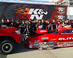 Erica Enders-Stevens and the Elite Motorsports crew were all smiles as they posed for photos in Victory Lane