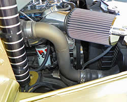 K&N air filter and oil filter on the Hogie Shine Rat Rod
