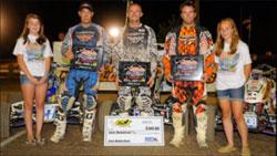 Extreme Dirt Track Pro-Am ATV Racing Podium (left to right)Brad Riley (2nd), Harold Goodman (1st) , Chuckie Creech (3rd)