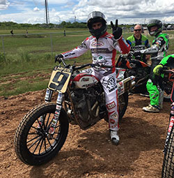 Jared Mees waits in anticipation for the start of the Harley Davidson Flat Track Race at this year's X Games.