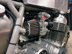 K&N pod filters on custom motorcycle built by Gasser Customs