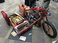 Custom motorcycle with produce in sidecar with K&N intake