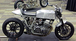 Side shot of Gasser Customs custom motorcycle