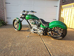 Custom chopper with pearl green paint