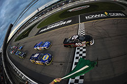 Todd Gilliland leads the field at the start of the NASCAR K&N Pro Series race at Iowa Speedway