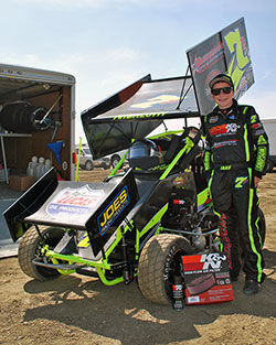 Jake Andreotti is only 12-years-old and in just his second Super 600 Micro Sprint Car race he has successfully beaten seasoned professional World of Outlaws racer