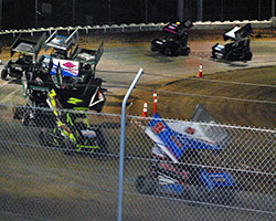 Jake Andreotti hit lapped traffic on lap nine which allowed eventual race winner Jake Hagopian to sweep by on the outside and go on for a 1.7 second win over Andreotti