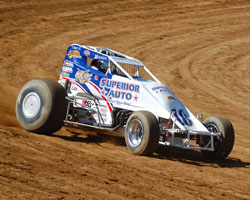 Jarett Andretti takes a sharp turn during USAC Sprint Car Racing