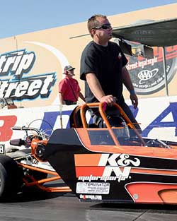 """Jr. Dragster has a K&N clamp-on universal air filter R-1100 to keep the Briggs & Stratton 5 HP """"lawnmower"""" engine running"""