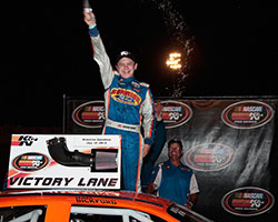 James Bickford, cousin of Jeff Gordon, celebrates his first NASCAR K&N Pro Series West victory at Stateline Speedway in Post Falls, Idaho