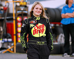 The rookie, 16-year-old, Nicole Behar finished sixth place and matched the highest finish for a female driver in NASCAR K&N Pro Series West history