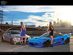 Summer Daniels & Erica Nagashima with the Liberty Walk BMW M4 nd the SSA USA Rocket Bunny Acura NSX