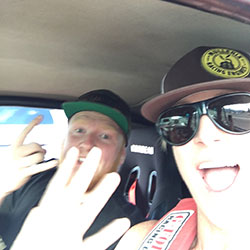 Road Trip Selfie with son and partner in this adventure, Weston Thurmond. Scheduling conflicts prevented Jane's regular crew chief, husband Greg, from attending the event.