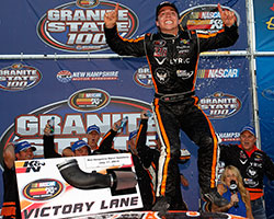 17-year-old North Carolina native Jessie Little got on top of his car to celebrate his first time on victory lane in the Granite State 100 at New Hampshire Motor Speedway