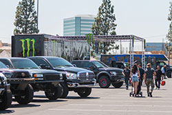 Lifted trucks at Angels Stadium in Anaheim, Ca