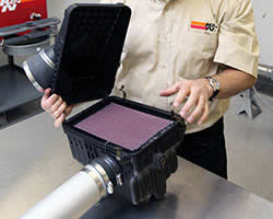 K&N designing and testing an air filter at the Riverside, CA R&D facility