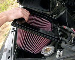One of the easiest ways to increase horsepower with performance parts from K&N is by installing a K&N drop-in replacement air filter into the stock air box of cars, trucks, SUVs, and more