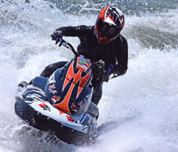 Kelly Smith of Team Faith riding personal watercraft