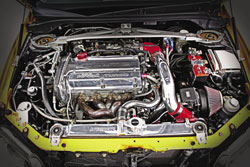 Keoni went with one of K&N's high flow air filters to feed the turbo powered engine that puts out 450hp to the wheels
