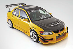 Keoni's Evo encorporates traditional Japanese styling and racing functionality