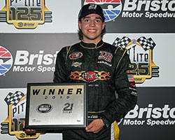 Jesse Little, son of former NASCAR Cup Series driver Chad Little, won the 21 Means 21 Pole Award presented by Coors Lite