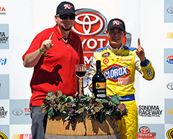 A representative from K&N Performance Air filters was on site to congratulate Kyle Larson on his win in the Carneros 200 NASCAR K&N Pro Series West race at Sonoma Raceway