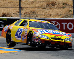 Kyle Larson proves he can turn the number 42 Clorox Chevrolet right during the Carneros 200 NASCAR K&N Pro Series West race at Sonoma Raceway
