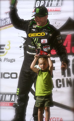 Kyle LeDuc with his son