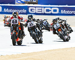 Kyle Wyman, aboard the Millennium Technologies XR1200, battled with race leaders early on in the AMA Pro Vance & Hines Harley-Davidson Series race at Laguna Seca